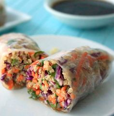A delicious and vegan-friendly sesame spring roll is ready to enjoy in just 30 minutes—here's how! - Everyday Dishes & DIY - - minus the cilantro Veggie Recipes, Asian Recipes, Vegetarian Recipes, Cooking Recipes, Healthy Recipes, Vegan Meals, Chicken Recipes, Good Food, Yummy Food