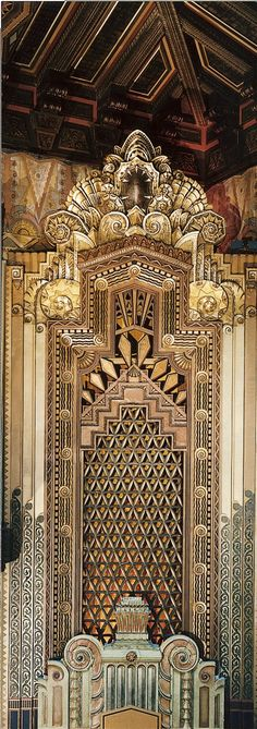 Interior of the Pantages theatre, ornamental Art Déco design on the side wall of the theatre #artdecointeriors