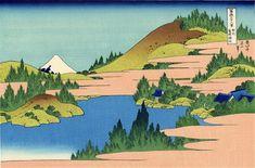 The lake of Hakone in the Segami province by Katsushika Hokusai. Ukiyo-e. landscape