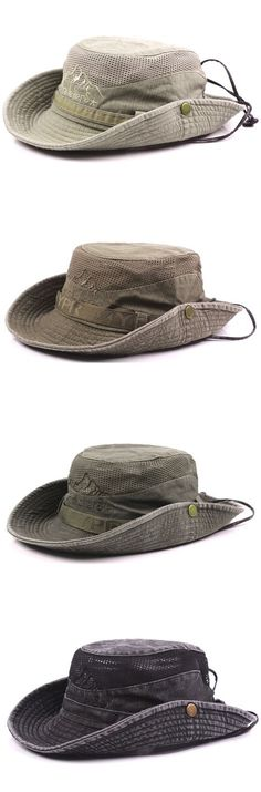 701afcfc85cfae Mens Summer Cotton Embroidery Visor Bucket Hats Fisherman Hat Outdoor  Climbing Mesh Sunshade Cap is hot sale on Newchic.