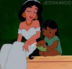 Jasmine (Aladdin) & Lilo (Lilo & stitch). Disney crossover.jasmine would be a good mother