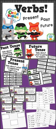 Learn about verb tenses - past, present, future - with this pack of engaging activities!