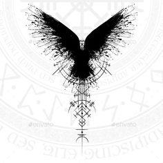 Buy Black Runic Raven Scandinavian Symbol by longquattro on GraphicRiver. Black grunge bird silhouette with viking symbol on white background Fenrir Tattoo, Valkyrie Tattoo, Celtic Tattoos, Viking Tattoos, Celtic Raven Tattoo, Tattoo Symbols, Viking Symbols, Viking Runes, Rauch Tattoo