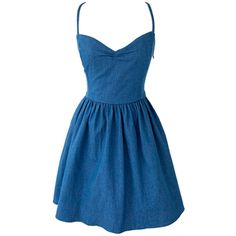 Choies Dark Blue Sweetheart Spaghetti Strap Tied Back Skater Dress ($28) ❤ liked on Polyvore