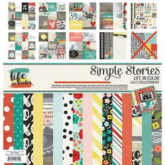 Simple Stories - Life In Color 12x12 Scrapbook Collection Kit (Retired, HTF)