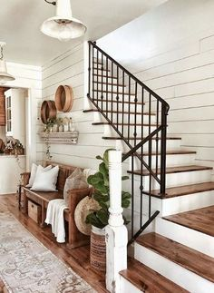 65 Stunning Rustic Farmhouse Entryway Decor and Design Ideas - das Haus - Home Farmhouse Stairs, House Design, Farm House Living Room, House, Farmhouse Decor, New Homes, Farmhouse Interior, House Interior, Rustic Farmhouse Entryway