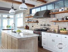Exposed Brick - Open Shelves - Exposed Beams - Transom Windows - Transitional Kitchen - Normandy Remodeling designer: Kathryn O'Donovan