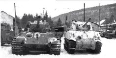 A captured King Tiger next to a M4A3 76 Sherman to show their height difference during the Ardennes offensive