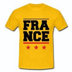T-shirt Jaune France France 3 étoiles