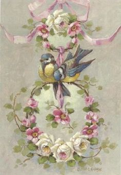 Christie Repasy Spring Cheer Original Canvas Print, featuring a love birds on top of pink ribbon hanged round twigs with spring flowers, this canvas print is an original painting by Christie Repasy. Images Vintage, Vintage Cards, Vintage Paper, Vintage Postcards, Decoupage Vintage, Art Floral, Shabby Chic Kunst, Bird Art, Vintage Flowers