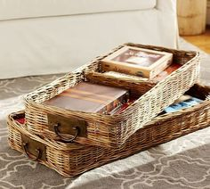 Pin for Later: Banish Ugly Coffee Table Clutter With One Easy Trick  Pottery Barn Caden Square Ottoman Divided Basket ($119)