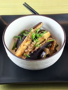 Food Gal: Tender eggplant spears tossed with an easy chili-garlic-ginger-soy sauce. Chinese Eggplant Recipes, Spicy Eggplant, Eggplant Dishes, Chinese Recipes, Garlic Sauce, Soy Sauce, Ginger Sauce, Asian Recipes, Bon Appetit
