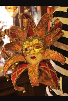 This Venetian mask used back in the 13th century was used for   Carnivals in Italy around January or February