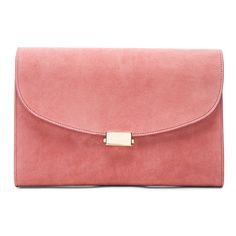 Mansur Gavriel Suede Flat Clutch (€610) ❤ liked on Polyvore featuring bags, handbags, clutches, suede handbags, man bag, red hand bags, mansur gavriel and handbags purses