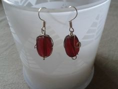 Indian Glass Red and Wire Earrings Wire Earrings, Drop Earrings, Indian, Mini, Glass, Red, Jewelry, Fashion, Moda