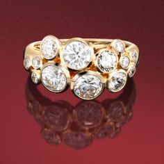 Brilliant cut diamond 'Bubble ring' in 18ct rose gold