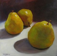 Original Food Painting Dramatic View of Oversized Yellow Pears on White Tablecloth 18x18 Oil on Canvas by Cheri Wollenberg on Etsy, $325.00