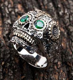 sugar skull ring $69