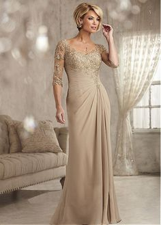 Chiffon V Neck Neckline Sheath Mother Of The Bride Dress With Lace