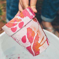 DIY marbled pots using nail polish