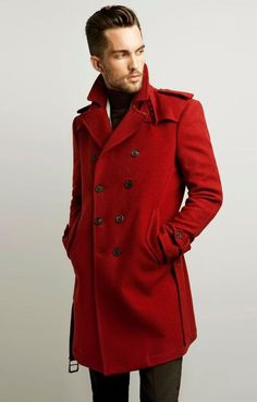 Red Fashion, Look Fashion, Formal Fashion, Fashion Dresses, Zara Australia, Long Trench Coat, Red Trench Coat Mens, Camel Coat, Well Dressed Men