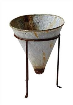 "8"" Round x 10-1/2""H Tin Cone Shaped Flower Pot w/ Metal Stand, Distressed Zinc Finish, Set of 2"