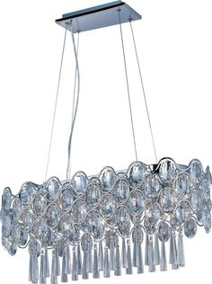 Definitely not your grandmother`s #crystal, the Jewel Collection transforms an #elegant gem into a bold design formed of bent #steel, undulating patterns, and a Polished #Chrome finish. The substantial #Beveled #Crystals sparkle like jewel #pendants, while the internal crystal #beads delicately reflect the light from the #xenon lamps included with each fixture. #ceilinglight #lightfixture #xenonlighting #pendantlight