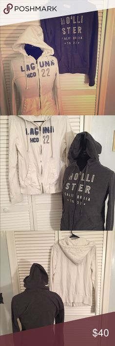🆕EUC Lot of 2 Hollister Hoodies. Gray & White Med 🆕EUC Lot of 2 Hollister Hoodies. Gray & White. Both Size Medium. Gray hoodie is shorter and lighter weight. White is longer and thicker. Both cute and warm for the season! Hollister Tops Sweatshirts & Hoodies