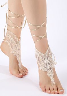 Free ship champagne ivory lace Barefoot Sandals by ByMiracleBridal