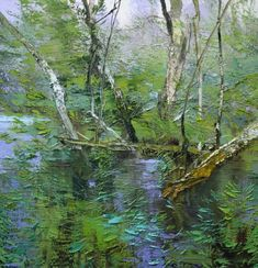 My favorite painter in Asheville, N.C., Lynn Boggess! He uses a palette knife to achieve the 3-dimensional effect that makes the surface move. Viewed his work at Haen Gallery. http://thehaengallery.com/artists/lynn-boggess/