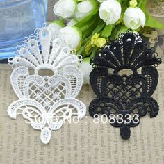 DIY hand craft accessories water soluble lace black white crown lace patch, contact BDJIN@FOXMAIL.COM for more details