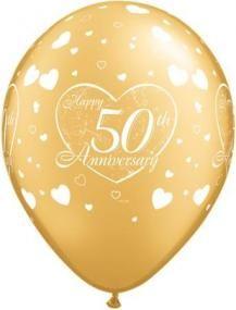 Latex Balloons 50th (Golden) Wedding Anniversary