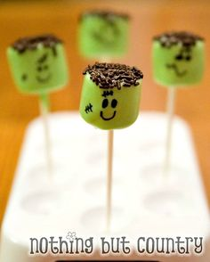 Halloween Treat Ideas. Get marshmallows and put green food coloring on them then sprinkle chocolate sprinkles on top.