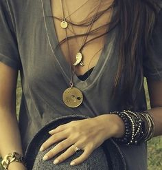Layered jewels & a deep v neck tee, summer outfit.