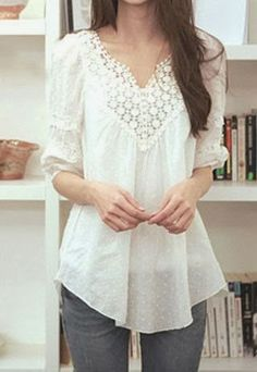 I love the look and the length of this White Lace Long Shirt