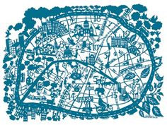 """Sumerbelle"" wonderful hand paper cut Paris map !"