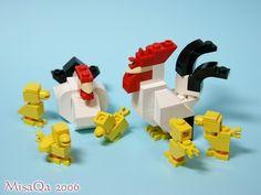 Lego Rooster, Hen and Chicks Lego Minecraft, Minecraft Statues, Minecraft Buildings, Lego Disney, Legos, Lego Ornaments, Lego Advent, Lego Hogwarts, Construction Lego