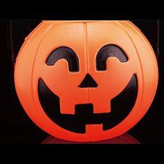 HuntGold 2X Halloween Prop Party Club Plastic Pumpkin Bucket Candy Pot Holder Decoration(Type A)