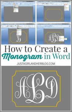 Learn how to create a Monogram in Word! Vinyl Projects, Sewing Projects, Craft Projects, Bouquet Pastel, Do It Yourself Wedding, How To Make Labels, Monogram Fonts, Free Monogram, Monogram Letters