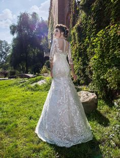 Classic full lace trumpet wedding gown with illusion neckline, sweetheart detail and beautiful lace sleeves to finish off this enchanting look. Illusion Neckline, Lace Sleeves, Wedding Gowns, Rose, Beautiful, Collection, Fashion, Moda, Bridal Dresses