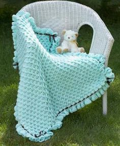Crafty Frog: Free Crochet Pattern Crocodile Stitch Baby Blanket Designed by Lianka Azulay