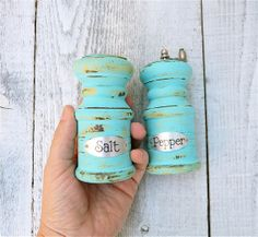 Hey, I found this really awesome Etsy listing at https://www.etsy.com/listing/157369185/turquoise-shabby-chic-salt-shaker-and