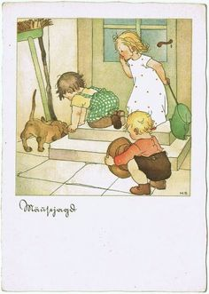 Sausage Dog and Kids chasing Mice. Vintage Postcard from curioshop on Ruby Lane