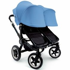 Bugaboo Donkey Twin Stroller, Extendable Canopy - All Black/Ice Blue