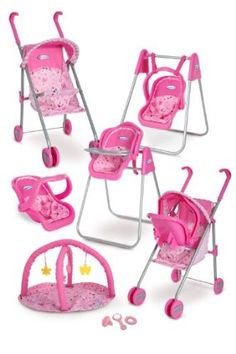 "Graco Play Set - Stroller with Canopy, Swing / High Chair, Playgym, Baby Monitors and 3 Piece Accessories by Tolly Tots - Domestic. $99.99. All components are styled in solid pink and chocolate/pink polka dots. Doll not included. Quality, value and everything for your dolly. Sure to delight with hours of role play fun for little girls and dollies alike. Suitable for dolls up to 18"". From the Manufacturer                This playset includes a travel system stroll..."