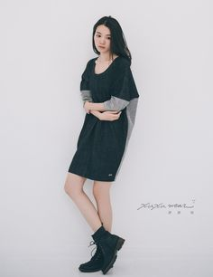 許許兒♪2WAY雙面穿拼接撞色洋裝-黑灰 Sided wear one piece dress