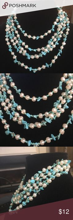 "Multi Strand ""Pearl and Turquoise"" Necklace Beautiful multi strand faux pearl and turquoise necklace! Jewelry Necklaces"