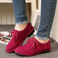 Suede Pure Color Flat Lace Up Soft Oxford Shoes - Gchoic.com