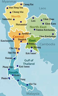 Thailand Map Of Thailand Thailand Pinterest Chiang Rai - Map of thailand