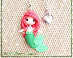 Chibi earrings Polymer Clay Fimo Earrings ~ Cute Kawaii Ariel Disney Princess Little Mermaid Mermaid Princess Red Hair tiny Handmade Gift